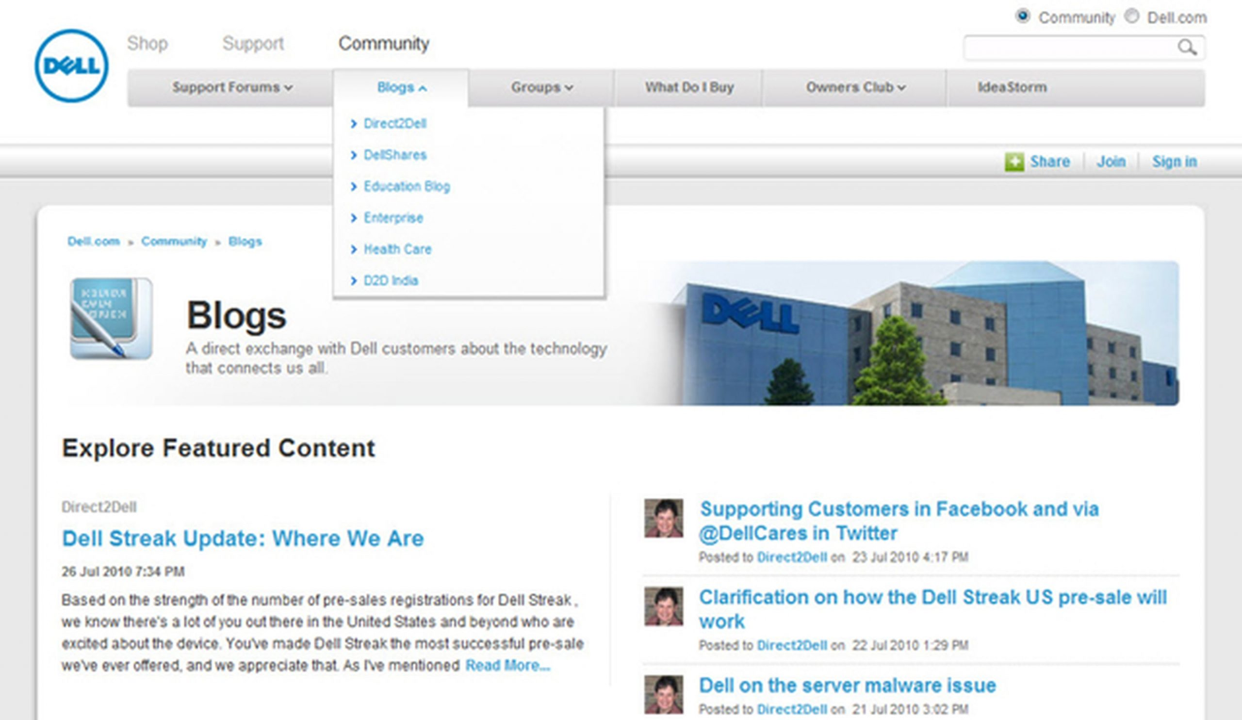 Dell: Use a Landing Page to Organize Multiple Blogs