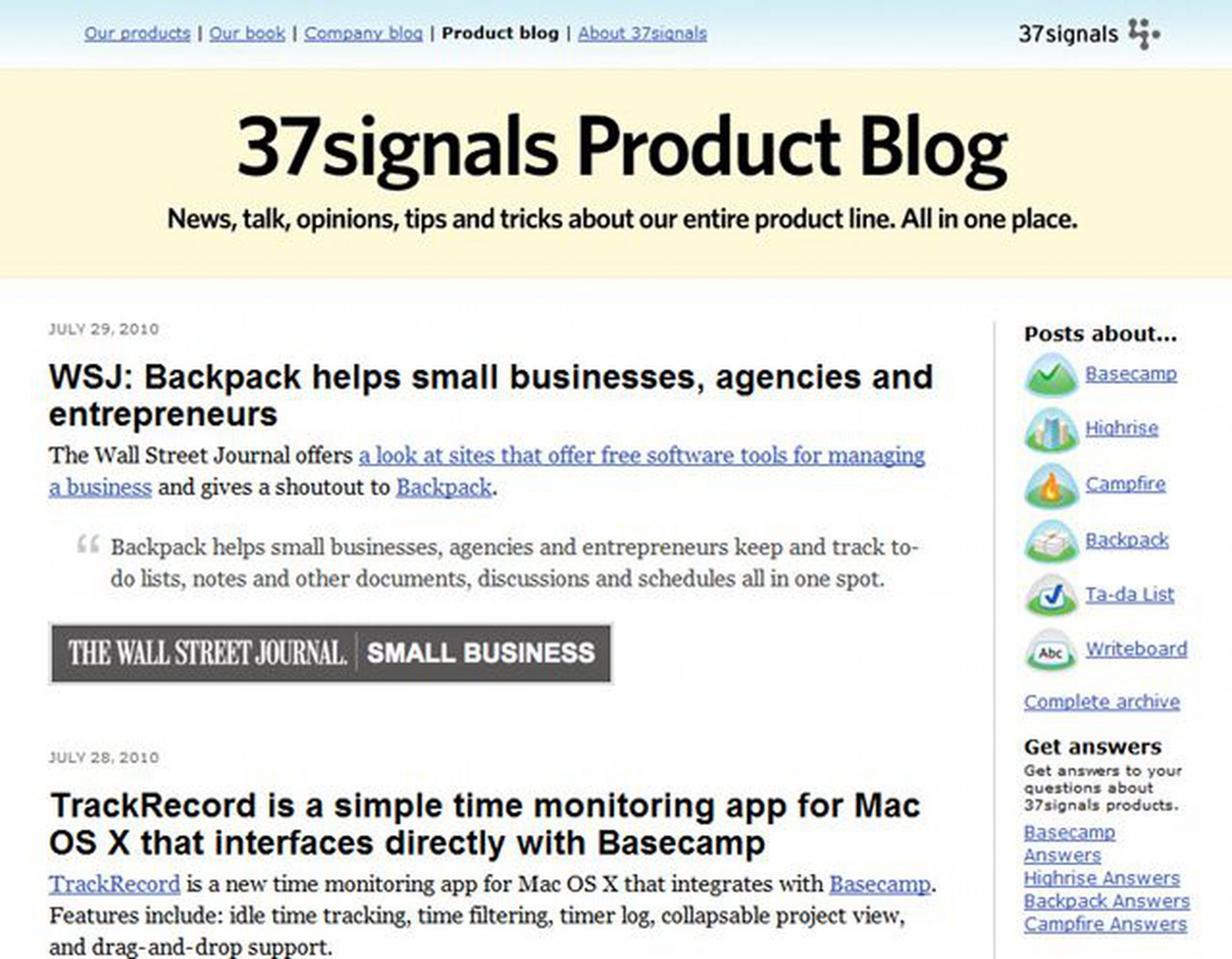 37signals Product Blog: Showcase Your Products and Services
